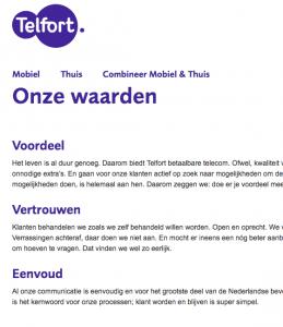 Wat zijn klantwaarden waard Telfort?
